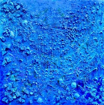 Stivi - Background of the Ocean Acrylic & Mixed Media on Canvas, Mixed Media
