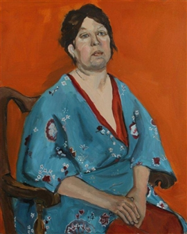 Judith Tawil - Betty in Blue Kimono Oil on Canvas, Paintings