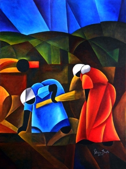 Patricia Brintle - The Gleaners - After Millet Acrylic on Canvas, Paintings
