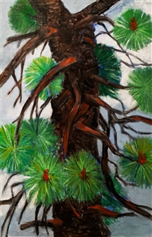 Vincent Torre - Pine Tree Section Oil on Cardboard, Paintings