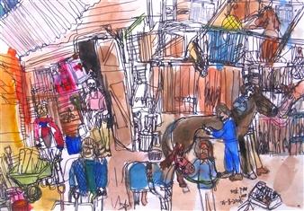 Ping Lian Yeak - 05300 Stable Watercolor & Ink on Paper, Paintings