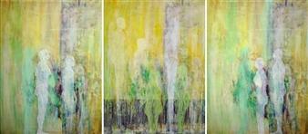 Volkmar Jesiek - Landschaft 6 (triptych) Mixed Media on Canvas, Mixed Media