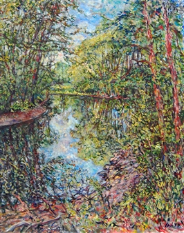 James Chisholm - Ipswich River Bend Oil on Canvas, Paintings