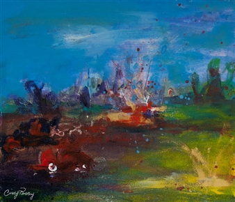 Cindy Parsley - Fireworks Acrylic on Paper, Paintings