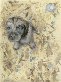 Nancy Holleran - Dog with the Blue Eyes Watercolor & Ink on Paper, Paintings