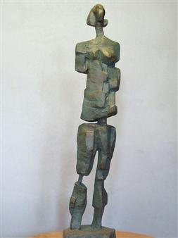 Lex Heilijgers - Female Statue Standing I Stone with Bronze Coating, Sculpture