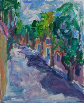 Susan Marx - Allee de Verdun in Goult, France Acrylic on Canvas, Paintings