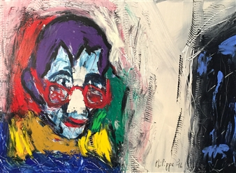 Philippe Thélin - Self-portrait with a Bandage on the Nose Acrylic on Canvas, Paintings