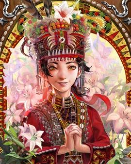 Han-Yuan Yu - The Rukai Bride Digital Print on Canvas, Digital Art