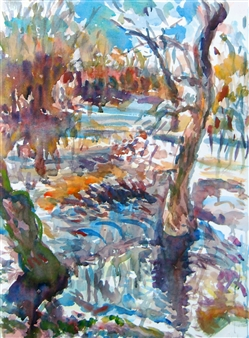 James Chisholm - Ipswich River, Topsfield Watercolor on Paper, Paintings