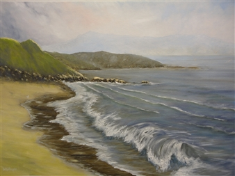Wendy Gillespie - Northland Beach Oil on Canvas, Paintings