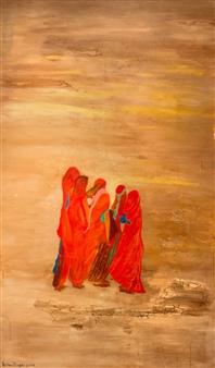 Fariba Baghi - Gathering Women Acrylic on Canvas, Paintings