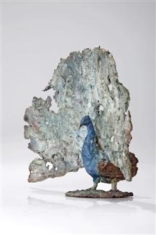 Arno Goossens - Proud Peacock Bronze, Sculpture
