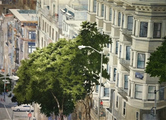Duane Anderson - Trees of SF (1) Watercolor on Paper, Paintings