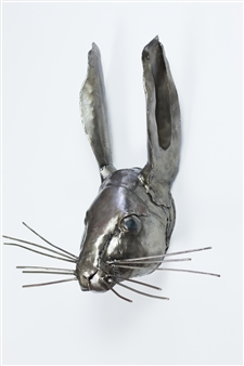 Lida Boonstra - Hare leftside Unicum in Steel, Sculpture