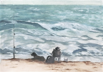 Nancy Holleran - Fisherman and Fisherdog Watercolor & Ink on Paper, Paintings