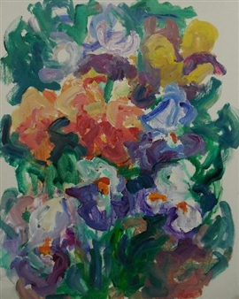 Susan Marx - Flower Bed with Irises Acrylic on Canvas, Paintings