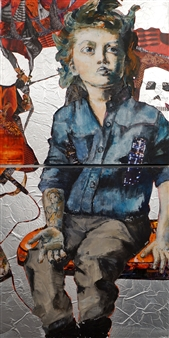 Claudia Mayer-Mallenau - Rebel Acrylic, Collage & Mixed Media on Canvas, Mixed Media