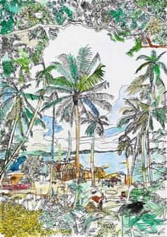 Ping Lian Yeak - 10901 Kampung Watercolor & Ink on Paper, Paintings