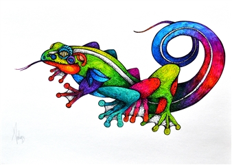 Mariana Lino - Frog Marker on Canvas, Drawings