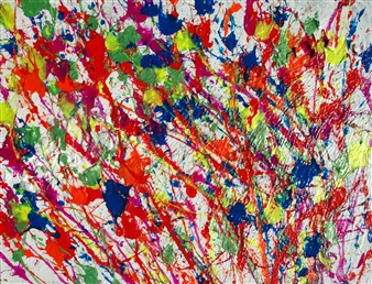 Trent Altman - Colorful Splash Acrylic & Mixed Media on Canvas, Mixed Media