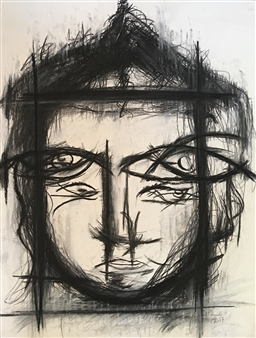 Lorena Becerra - And the Ego was Still Sad Because It Continued Touching His Soul Charcoal on Paper, Drawings