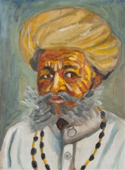 Vandana Nittoor - Portrait of an Indian Man Oil on Canvas, Paintings