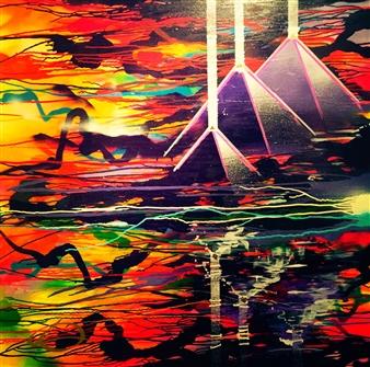 Mobarick Abdullah III - Eternal Spray Paint on Canvas, Paintings