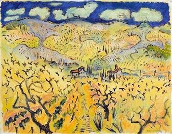 Robert Ellison - Path to Hills Chianti Oil on Canvas, Paintings