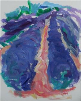 Susan Marx - Lavender Rows near Rousillon, France July Acrylic on Canvas, Paintings