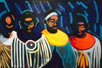 Frédéric Bruneau - Masaï Daydreaming Oil on Canvas, Paintings