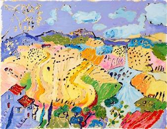 Robert Ellison - View Toward Pienza Oil on Canvas, Paintings