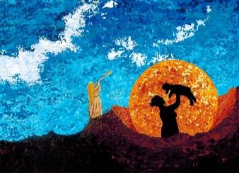 Frank M. Alba - Sacrifice and Birth Acrylic on Canvas, Paintings