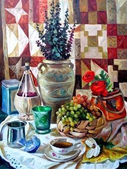 Nadia Jampolski - Wine & Tea Oil on Canvas, Paintings
