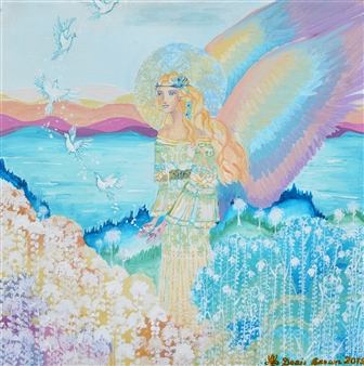Doris Brown - The Rainbow Angel Acrylic on Canvas, Paintings