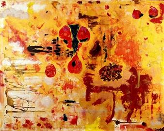 Oliwia Biela - Red Hole Sun Acrylic & Oil on Canvas, Paintings