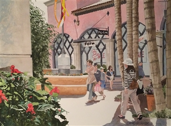 Duane Anderson - Le Cumbre Plaza Watercolor on Paper, Paintings