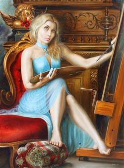 Svetlana Sintseva - Auto Portrait Oil on Canvas Panel, Paintings