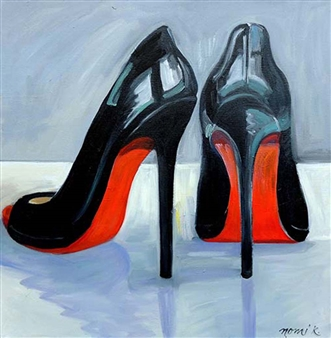 Nomi Knecht - I Heart My Black Louboutin Pumps Oil on Canvas, Paintings