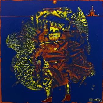 Jiri Maska - King of Frogs Mixed Media on Canvas, Mixed Media