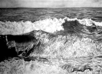 Dino Rinaldi - Montauk Wave Graphite on Paper, Drawings