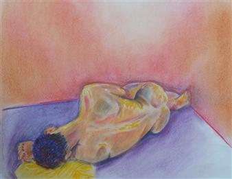 Martin Randall Joyce - Reclining Nude Chalk on Paper, Drawings
