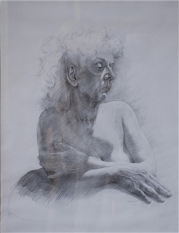 Dino Rinaldi - Old Woman Graphite on Paper, Drawings