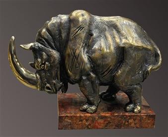 Anna Voloshko - Rhinoceros Bronze, Sculpture
