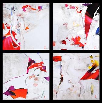 Sylvie Michault - Elixir - Near Death Experience Collage on Plywood, Mixed Media