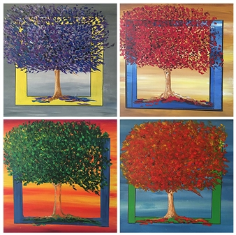 Marlene Fisher - Trees: 4 paintings Acrylic on Canvas, Paintings