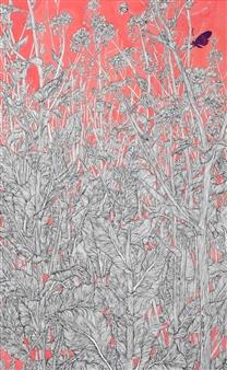 Su-Jeong NAM - Gloomy April Ink & Mixed Media on Canvas, Mixed Media