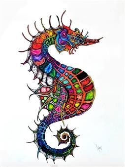 Mariana Lino - Seahorse Marker on Canvas, Drawings