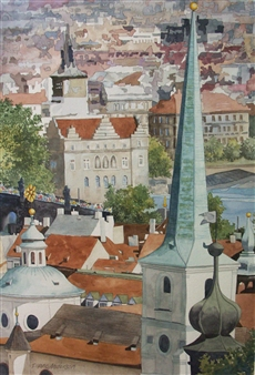 Duane Anderson - Steeples Watercolor on Paper, Paintings