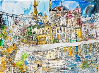 Ping Lian Yeak - 14005 Istanbul- Ortakoy Mosque Watercolor & Ink on Paper, Paintings